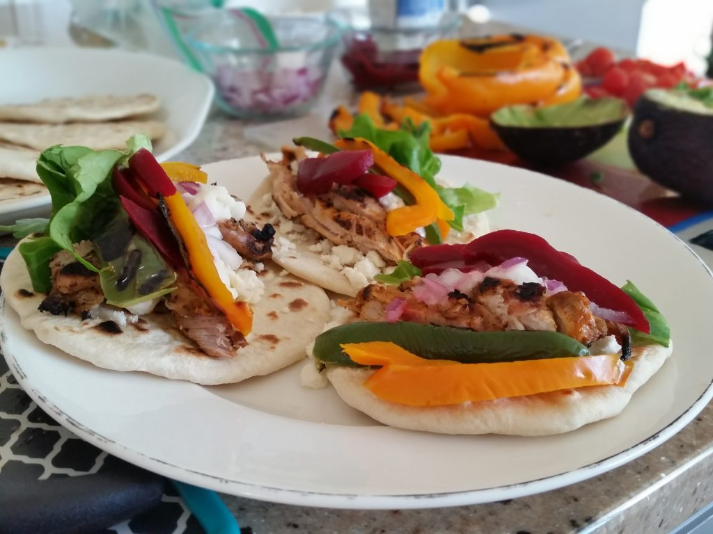 Chicken shish tawook tacos; the wheat-flour tortillas turned out more like pita or naan.