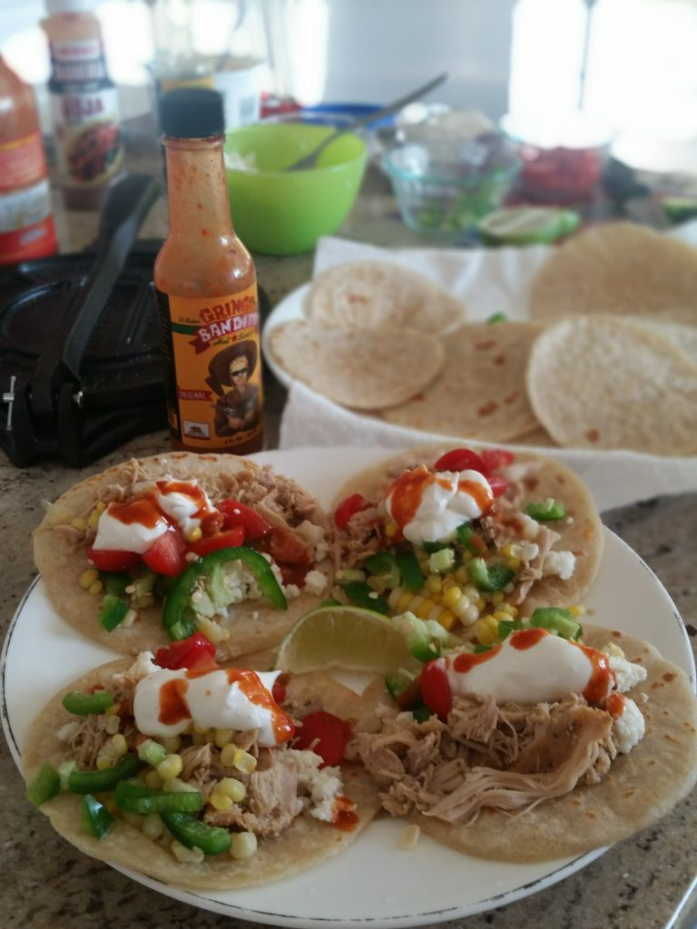 chile-lime chicken tacos on flour/corn tortillas